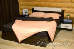 Купить персиково-шоколадное трикотажное постельное белье